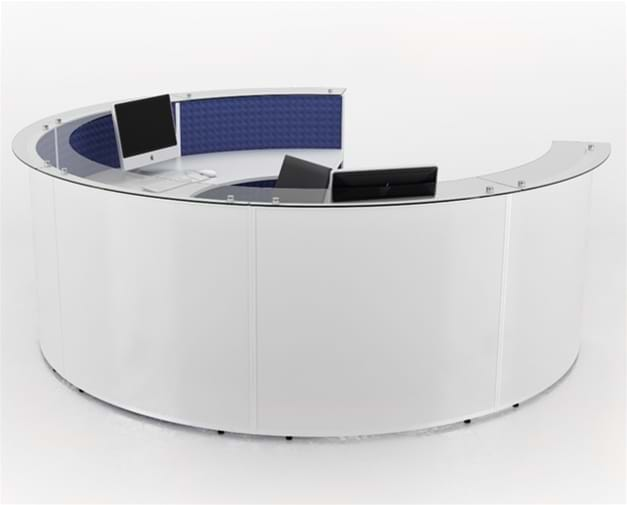 Circular Shaped Reception Desk With A Glass Counter Around The Edge.