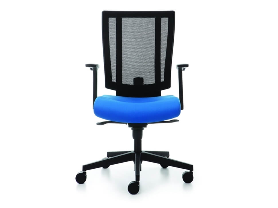 Front View Of Blue Svago Office Chair With Wheels On A White Background. ...